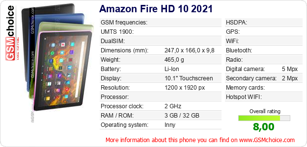 Amazon Fire HD 10 2021 technical specifications