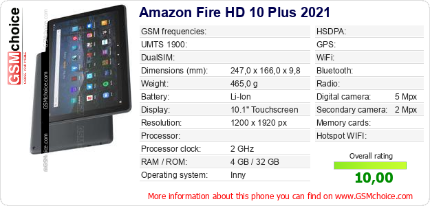 Amazon Fire HD 10 Plus 2021 technical specifications