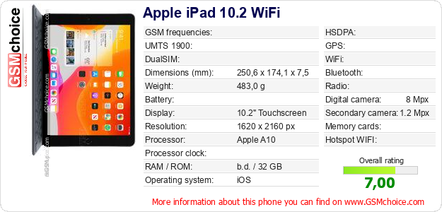 Apple iPad 10.2 WiFi technical specifications