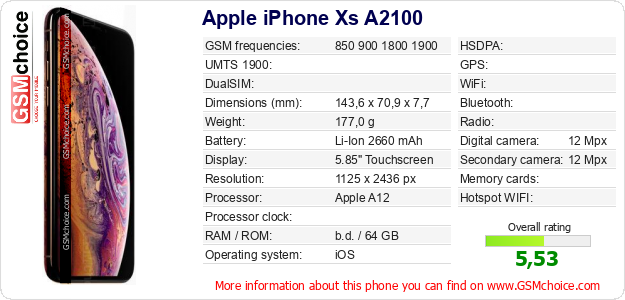 Apple iPhone Xs A2100 technical specifications