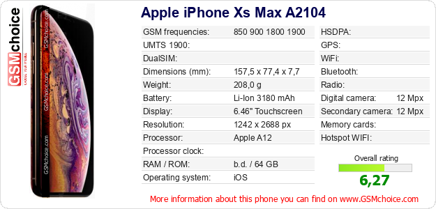 Apple iPhone Xs Max A2104 technical specifications