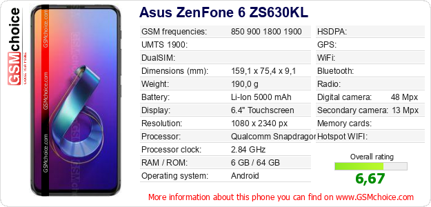 Asus ZenFone 6 ZS630KL technical specifications