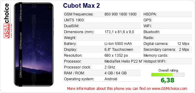 Cubot Max 2 technical specifications