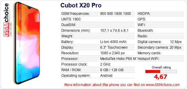 Cubot X20 Pro technical specifications