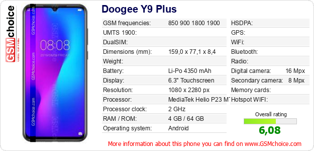Doogee Y9 Plus technical specifications