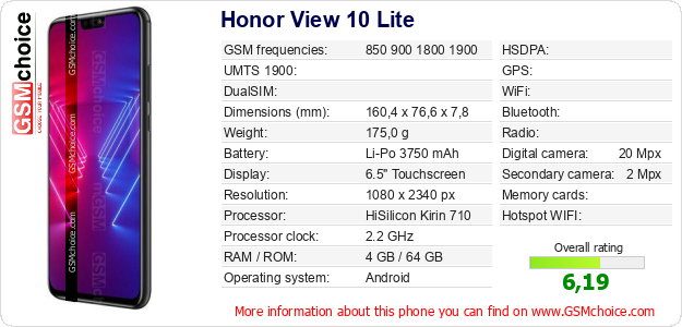 Honor View 10 Lite technical specifications