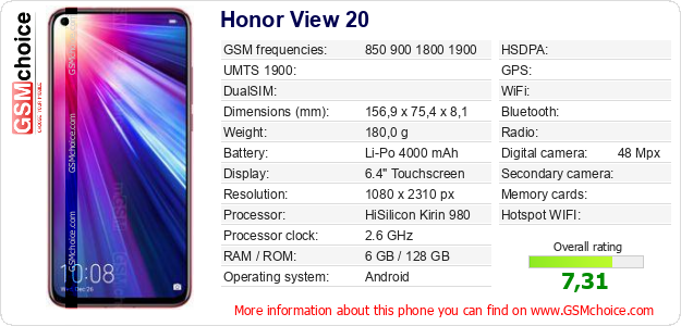 Honor View 20 technical specifications