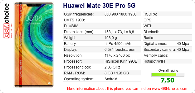 Huawei Mate 30E Pro 5G technical specifications