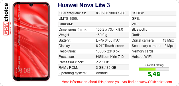 Huawei Nova Lite 3 technical specifications