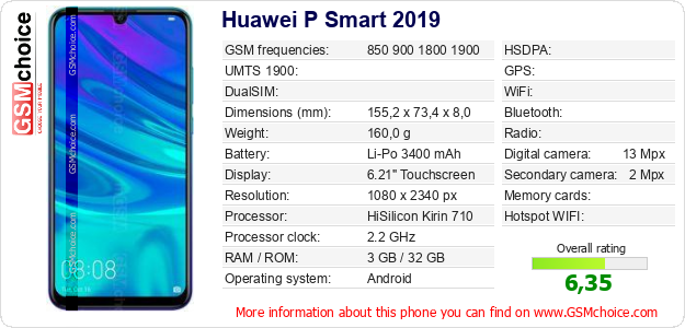 Huawei P Smart 2019 technical specifications
