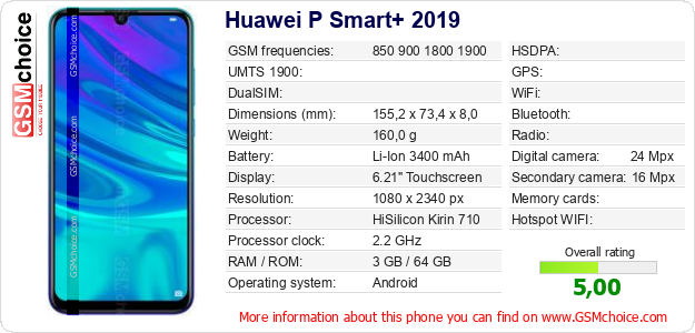 Huawei P Smart+ 2019 technical specifications