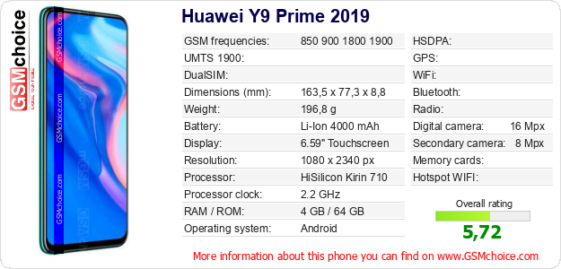 Huawei Y9 Prime 2019 technical specifications