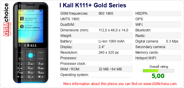I Kall K111+ Gold Series technical specifications
