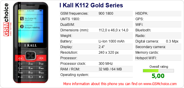 I Kall K112 Gold Series technical specifications