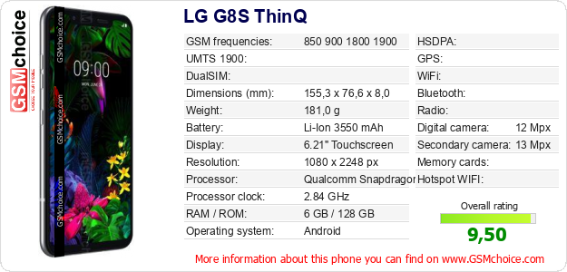 LG G8S ThinQ technical specifications