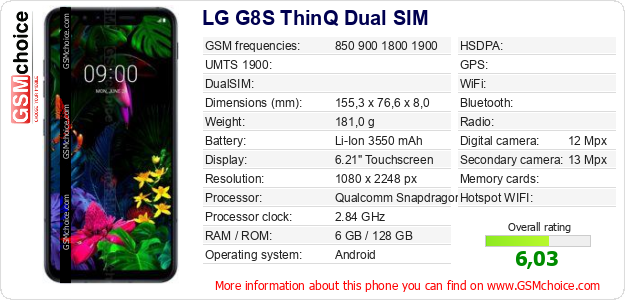 LG G8S ThinQ Dual SIM technical specifications