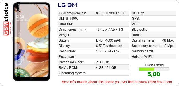 LG Q61 technical specifications