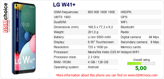 LG W41+ technical specifications