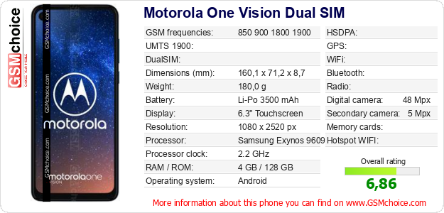 Motorola One Vision Dual SIM technical specifications