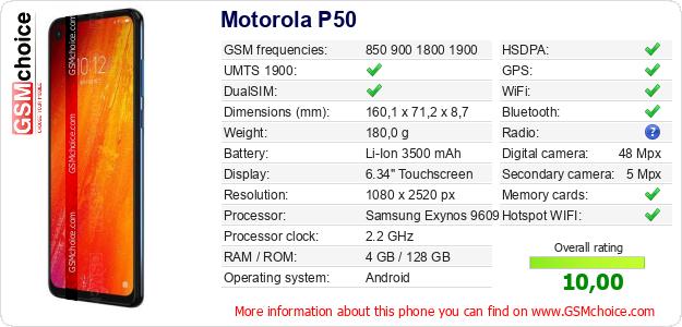 Motorola P50 technical specifications