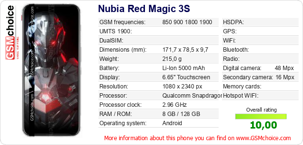 Nubia Red Magic 3S technical specifications