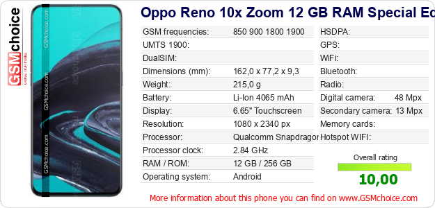 Oppo Reno 10x Zoom 12 GB RAM Special Edition technical specifications