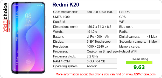 Redmi K20 technical specifications
