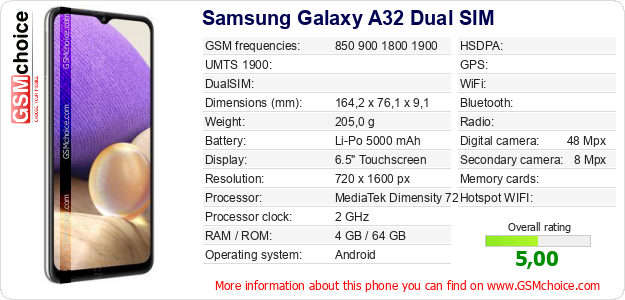 Samsung Galaxy A32 Dual SIM technical specifications
