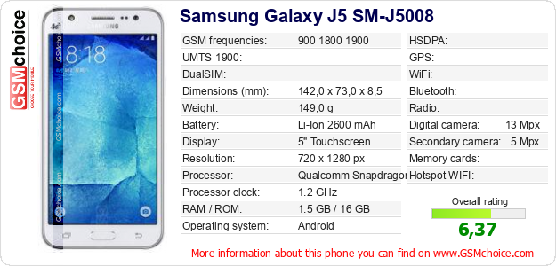 Samsung Galaxy J5 SM-J5008 technical specifications