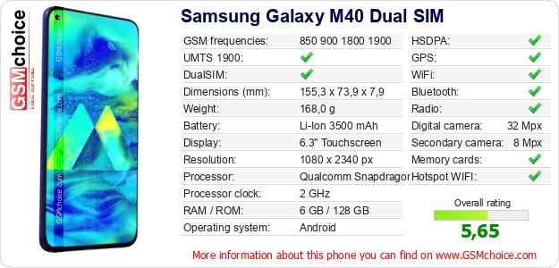 Samsung Galaxy M40 Dual SIM technical specifications