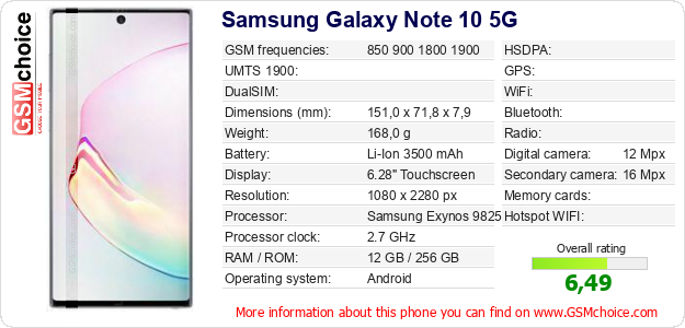 Samsung Galaxy Note 10 5G technical specifications