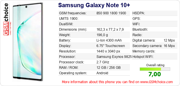Samsung Galaxy Note 10+ technical specifications