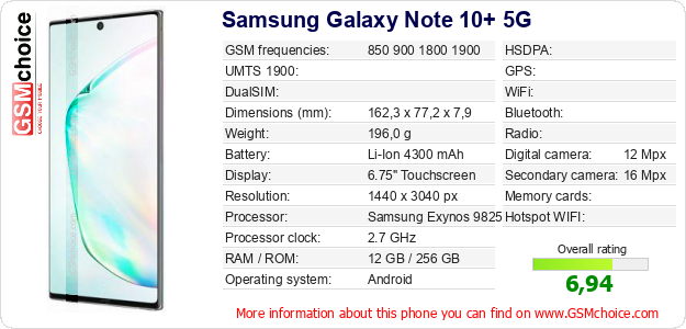 Samsung Galaxy Note 10+ 5G technical specifications