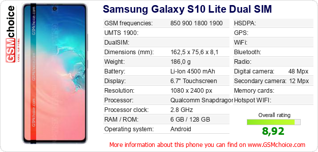Samsung Galaxy S10 Lite Dual SIM technical specifications