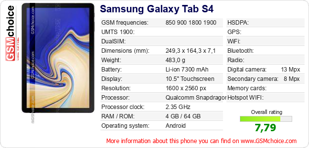 Samsung Galaxy Tab S4 technical specifications