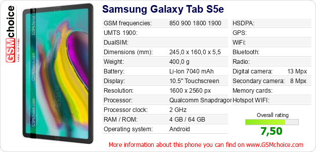 Samsung Galaxy Tab S5e technical specifications