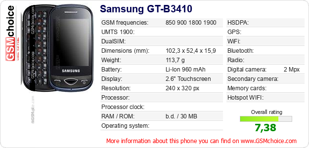 Samsung GT-B3410 technical specifications