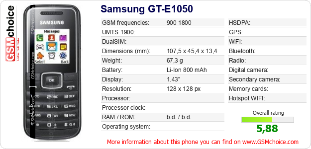 Samsung GT-E1050 technical specifications