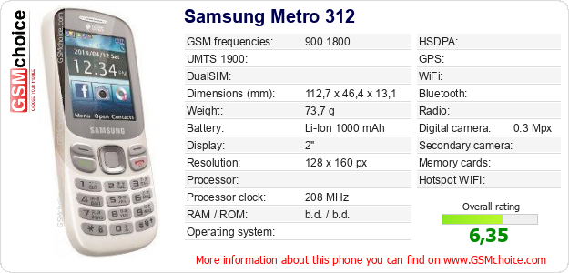 Samsung Metro 312 technical specifications