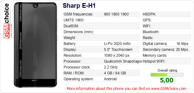 Sharp E-H1 technical specifications