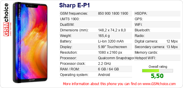 Sharp E-P1 technical specifications