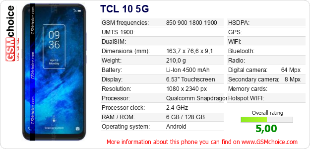 TCL 10 5G technical specifications