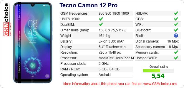 Tecno Camon 12 Pro technical specifications