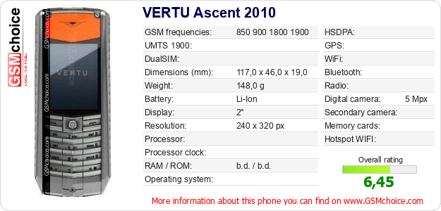 VERTU Ascent 2010 technical specifications