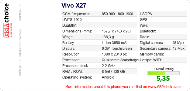 Vivo X27 technical specifications