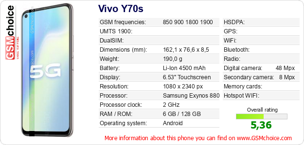 Vivo Y70s technical specifications