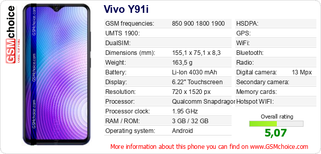 Vivo Y91i technical specifications