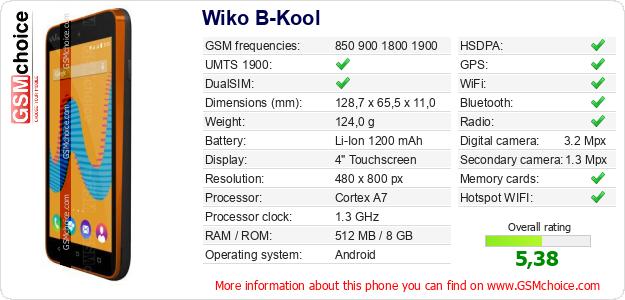 Wiko B-Kool technical specifications