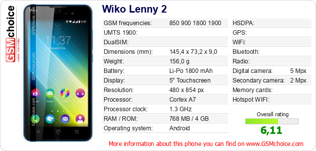 Wiko Lenny 2 technical specifications