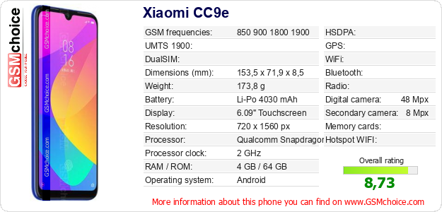 Xiaomi CC9e technical specifications